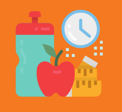 Exersizing waterbottle, apple, and a clock.
